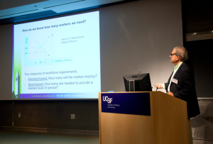 Director Richard M. Scheffler speaks at the Global Health Economics Consortium Colloquium at UCSF on the global health workforce gap
