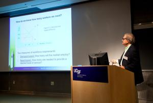 Director Richard M. Scheffler speaks at the Global Health Economics Consortium Colloquium at UCSF on the global health workforce gap